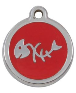 Luxury My Sweetie Red Fishbone Cat Pet ID Tag