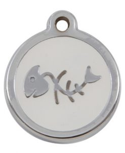 Luxury My Sweetie White Fishbone Cat Pet ID Tag