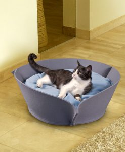 Luxury Nook Felt Cat Bed Grey Blue