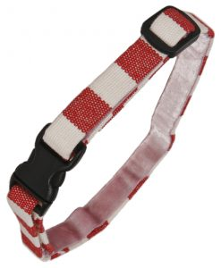 Luxury Red and White Stripe Cat Collar by Creature Clothes