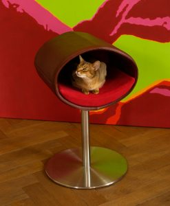 Luxury Rondo Real Leather Cat Stand Brown and Red