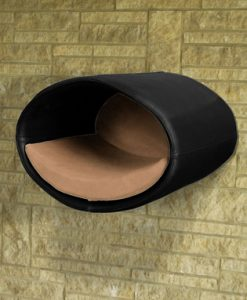 Luxury Rondo Wall Faux Leather Cat Bed Black Caramel