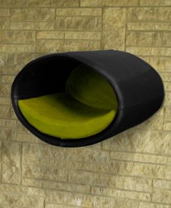 Luxury Rondo Wall Faux Leather Cat Bed Black Green