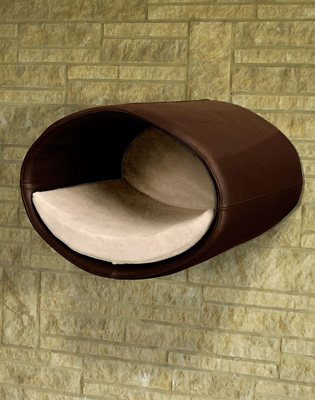 Luxury Rondo Wall Faux Leather Cat Bed Brown Cream