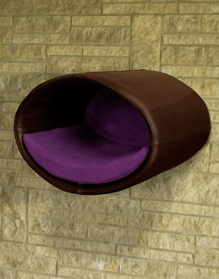 Luxury Rondo Wall Faux Leather Cat Bed Brown Purple