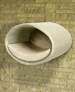 Luxury Rondo Wall Faux Leather Cat Bed Cream