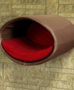 Luxury Rondo Wall Faux Leather Cat Bed Nougat Red