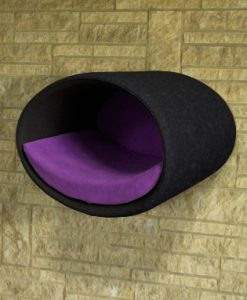 Luxury Rondo Wall Felt Cat Bed Black Violet