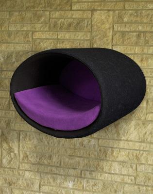 Luxury Rondo Wall Felt Cat Bed Black Violet