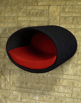 Luxury Rondo Wall Felt Cat Bed Black red