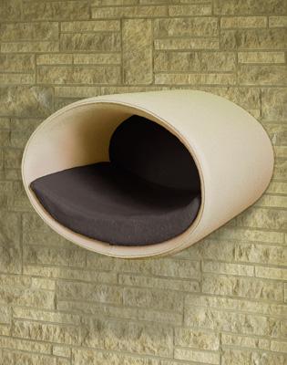 Luxury Rondo Wall Felt Cat Bed Cream