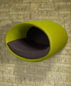 Luxury Rondo Wall Felt Cat Bed Green