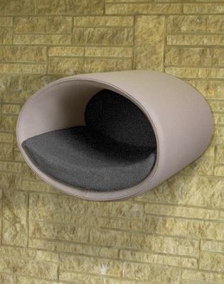 Luxury Rondo Wall Felt Cat Bed Grey 2