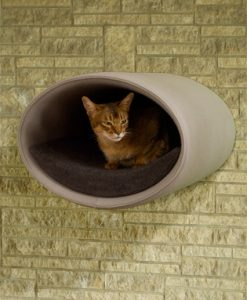 Luxury Rondo Wall Felt Cat Bed Grey