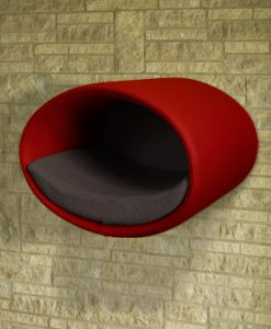 Luxury Rondo Wall Felt Cat Bed red