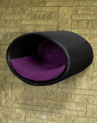 Luxury Rondo Wall Real Leather Cat Bed Black Violet