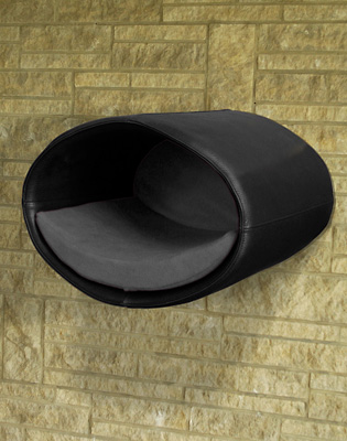 Luxury Rondo Wall Real Leather Cat Bed Black grey