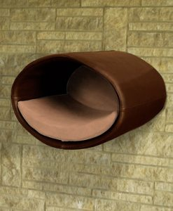 Luxury Rondo Wall Real Leather Cat Bed Brown Caramel