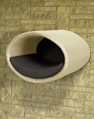 Luxury Rondo Wall Real Leather Cat Bed Cream Graphote