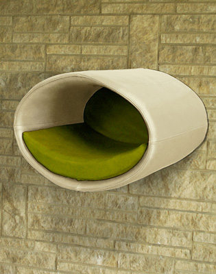 Luxury Rondo Wall Real Leather Cat Bed Cream green