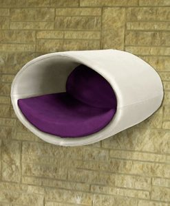 Luxury Rondo Wall Real Leather Cat Bed White Purple