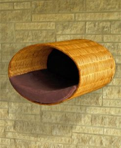 Luxury Rondo Wall Wicker Cat Bed Brown
