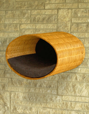 Luxury Rondo Wall Wicker Cat Bed Graphite
