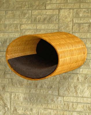 Luxury Rondo Wall Wicker Cat Bed Graphite