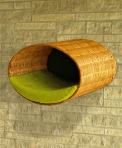 Luxury Rondo Wall Wicker Cat Bed Green