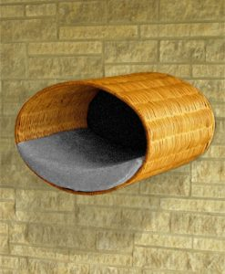 Luxury Rondo Wall Wicker Cat Bed Grey