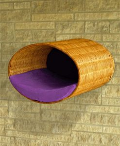 Luxury Rondo Wall Wicker Cat Bed Violet