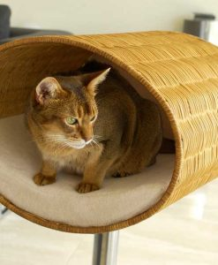 Luxury Rondo Wicker Cat Stand Cream 3