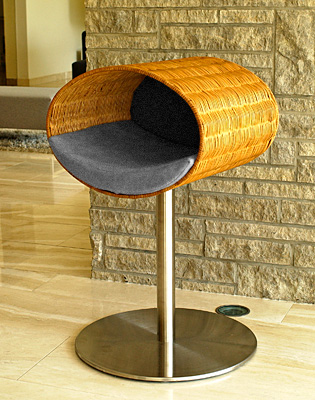Luxury Rondo Wicker Cat Stand Medium Grey