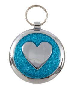 Luxury Shimmer Azure Blue Heart Designer Cat ID Tag