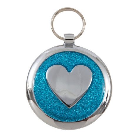 Luxury Shimmer Azure Blue Heart Designer Cat ID Tag