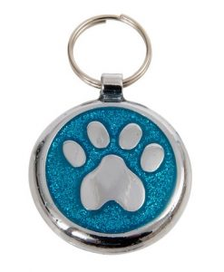 Luxury Shimmer Azure Blue Paw Designer Cat ID Tag