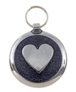 Luxury Shimmer Black Glint Heart Designer Cat ID Tag