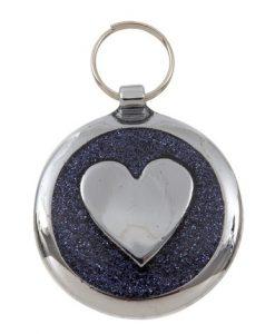 Luxury Shimmer Black Glint Heart Designer Cat ID Tag