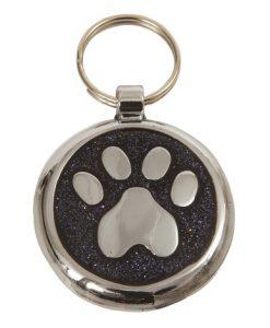 Luxury Shimmer Black Glint Paw Designer Cat ID Tag