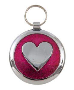 Luxury Shimmer Deep Pink Heart Designer Cat ID Tag