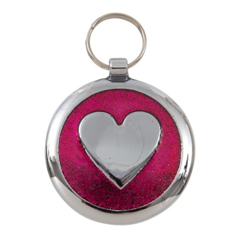 Luxury Shimmer Deep Pink Heart Designer Cat ID Tag