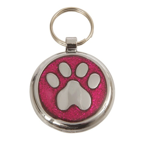 Luxury Shimmer Deep Pink Paw Designer Cat ID Tag