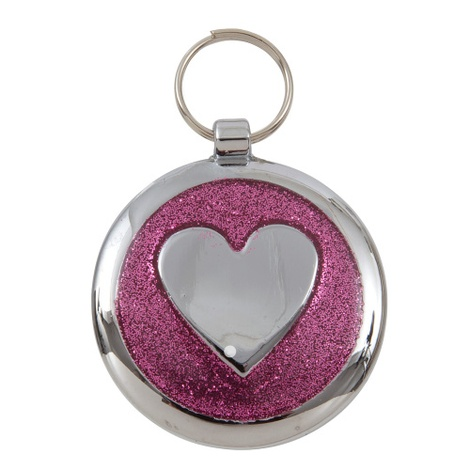 Luxury Shimmer Pretty Pink Heart Designer Cat ID Tag