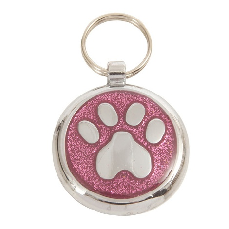 Luxury Shimmer Pretty Pink Paw Designer Cat ID Tag