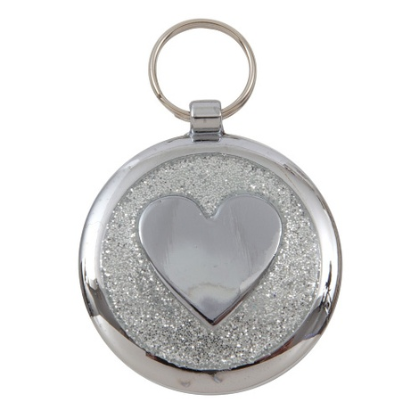 Luxury Shimmer Silver Sparkle Heart Designer Cat ID Tag