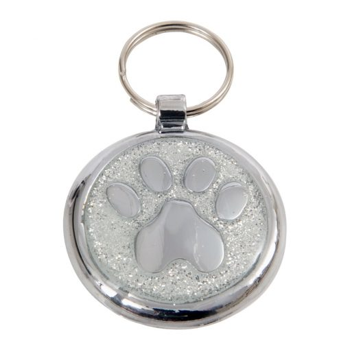Luxury Shimmer Silver Sparkle Paw Designer Cat ID Tag