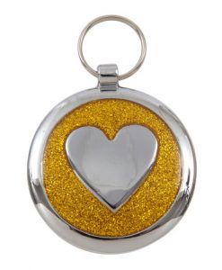 Luxury Shimmer Yellow Gold Heart Designer Cat ID Tag