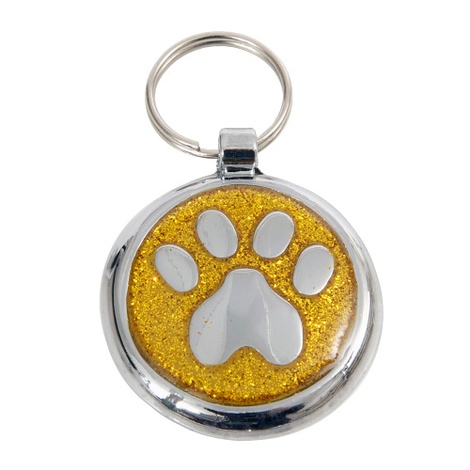 Luxury Shimmer Yellow Gold Paw Designer Cat ID Tag