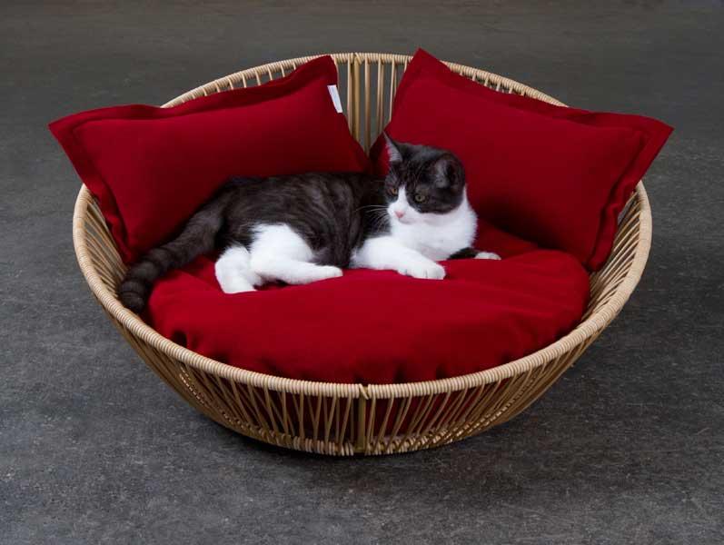 Luxury Siro Saleen Cat Basket Sahara Red