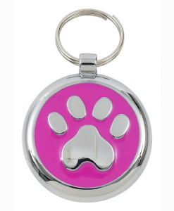 Luxury Smarties Deep Pink Paw Print Designer Cat ID Tag